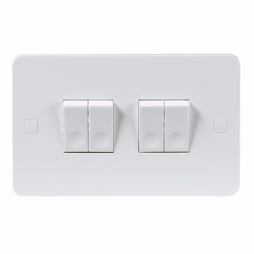KnightsBridge Pure 4mm 10A White 4G 2 Way 230V Electric Wall Plate Switch KnightsBridge PURE 10A 4G 2 Way Switch With Concave Rocker Detail  - Click to view a larger image
