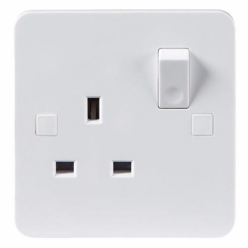 KnightsBridge Pure 4mm 13A White 1G Single 230V UK 3 Pin Switched Electric Wall Socket KnightsBridge PURE 1G 3-Pin UK Mains Power Socket With Concave Switch Detail  - Click to view a larger image