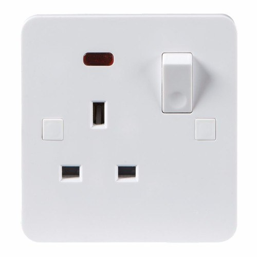 KnightsBridge Pure 4mm 1 Gang White 13a Switched Single Pole UK Plug Socket with Neon KnightsBridge PURE 1G UK Mains Power Socket With Concave Switch & Neon  - Click to view a larger image