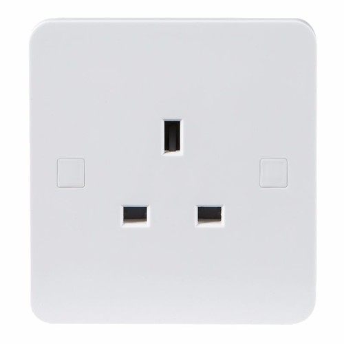 KnightsBridge Pure 4mm 13A White 1G Single 230V UK 3 Pin Unswitched Electric Wall Socket KnightsBridge PURE 1G 3-Pin UK Mains Power Unswitched Socket  - Click to view a larger image