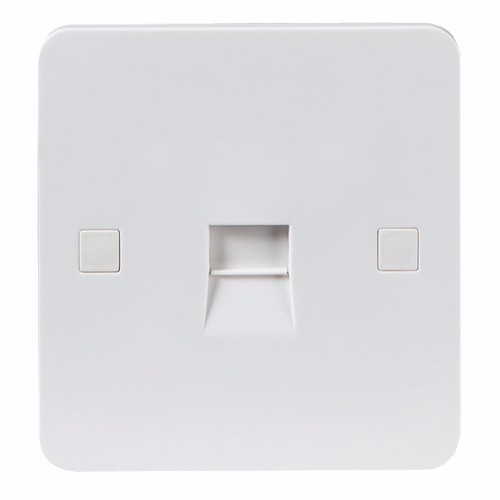 KnightsBridge Pure 4mm 1G White Telephone Master Socket Flush Wall Switch KnightsBridge PURE 4mm 1G Telephone Network Master Socket  - Click to view a larger image