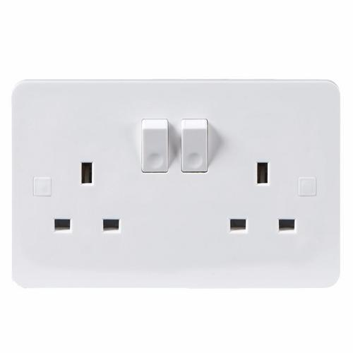 KnightsBridge Pure 4mm 13A White Slimline 2G Twin 230V UK 3 Switched Electric Wall Socket KnightsBridge PURE 2G 3-Pin UK Mains Power Socket With Concave Switch Detail  - Click to view a larger image