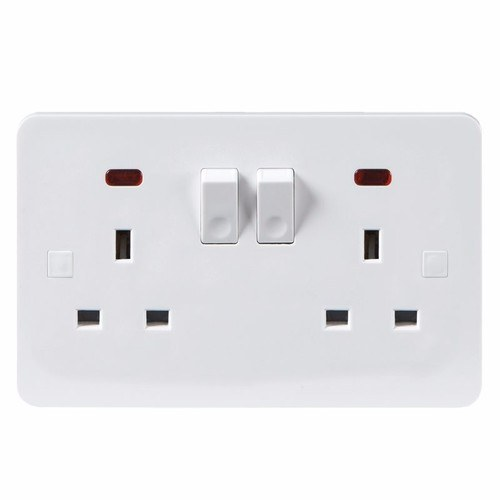 KnightsBridge Pure 4mm 13A White 2G Twin 230V UK 3 Switched Electric Wall Socket with Neon KnightsBridge PURE 2G UK Mains Power Socket With Concave Switch & Neon  - Click to view a larger image
