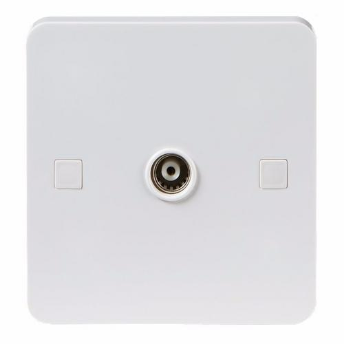 KnightsBridge Pure 9mm White Coaxial TV Outlet Un-Isolated Single Wall Plate KnightsBridge PURE 9mm Non-Isolated 1G Coax TV Outlet Socket  - Click to view a larger image