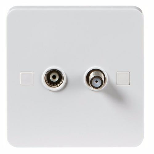 KnightsBridge Pure 9mm White Twin Coaxial and Satellite TV Outlet Isolated Single Plate KnightsBridge PURE 9mm 2G Isolated Coax TV & Satellite Outlet Socket  - Click to view a larger image