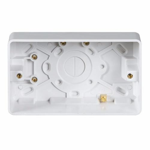 KnightsBridge Pure 25mm 2G Pattress Box With Earth Terminal For PURE Range KnightsBridge PURE 25mm Double Pattress Box With Earth Terminal  - Click to view a larger image