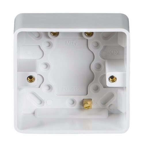KnightsBridge Pure 47mm 1G Pattress Box With Earth Terminal For PURE Range KnightsBridge PURE 47mm Single Pattress Box With Earth Terminal For PURE Range  - Click to view a larger image