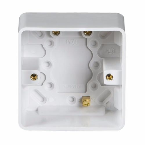 KnightsBridge Pure 35mm 1G Pattress Box With Earth Terminal For PURE Range KnightsBridge PURE 35mm Single Pattress Box With Earth Terminal For PURE Range  - Click to view a larger image