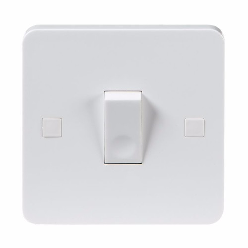 KnightsBridge Pure 9mm 10A White 1G 2 Way 230V Electric Wall Plate Switch  - Click to view a larger image