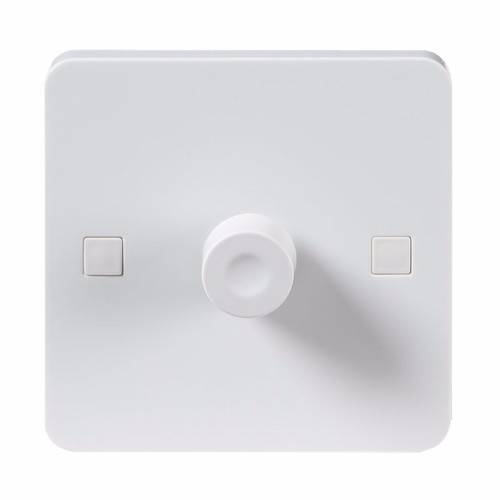 KnightsBridge Pure 9mm 40-400W White 1G 2 Way 230V Electric Dimmer Switch Knightdbridge 9mm PU2161 1 Gang LED Compatible Dimmer Switch - Click to view a larger image