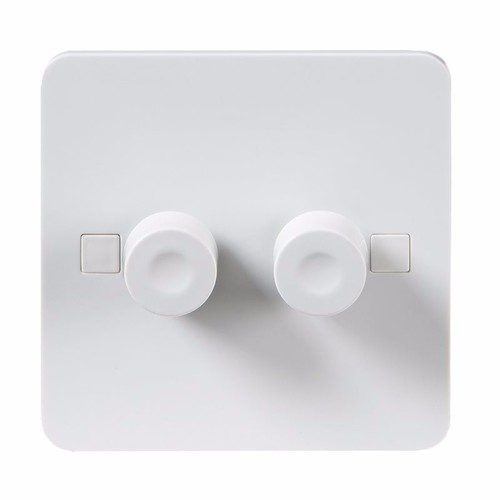 KnightsBridge Pure 9mm 40-400W White 2G 2 Way 230V Electric Dimmer Switch KnightsBridge PURE 9mm 2G 2 Way LED Friendly Dimmer With Concave Switch  - Click to view a larger image