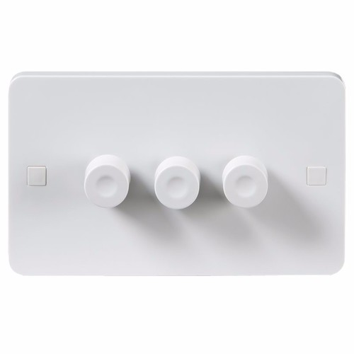 KnightsBridge Pure 9mm 40-250W White 3G 2 Way 230V Electric Dimmer Switch KnightsBridge PURE 3G 9mm 2 Way LED Friendly Dimmer With Concave Switch - Click to view a larger image