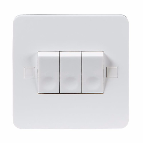 KnightsBridge Pure 9mm 10A White 3G 2 Way 230V Electric Wall Plate Switch KnightsBridge PURE 9mm 10A 3G 2 Way Switch With Concave Rocker Detail  - Click to view a larger image