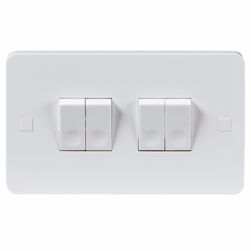 KnightsBridge Pure 9mm 10A White 4G 2 Way 230V Electric Wall Plate Switch KnightsBridge PURE 9mm 10A 4G 2 Way Switch With Concave Rocker Detail  - Click to view a larger image