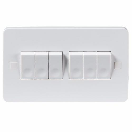 KnightsBridge Pure 9mm 10A White 6G 2 Way 230V Electric Wall Plate Switch KnightsBridge PURE 9mm 10A 6G 2 Way Switch With Concave Rocker Detail  - Click to view a larger image