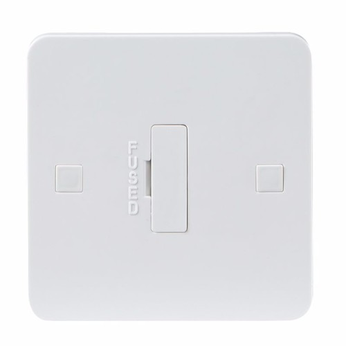 KnightsBridge Pure 9mm 13A White Connection Unit Fused Electric Wall Plate KnightsBridge Pure 9mm PU6000 13 Amp UnSwitched Fused Spur Switch - Click to view a larger image