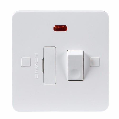 KnightsBridge Pure 9mm 13A White Switched Connection Unit with Neon Fused Spur Electric Wall Plate KnightsBridge PURE 9mm Switched 13A Fused Spur Unit With Neon  - Click to view a larger image