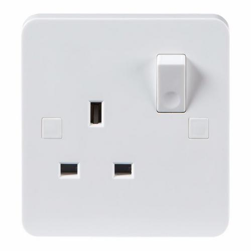 KnightsBridge Pure 9mm 13A White 1G Single 230V UK 3 Pin Switched Electric Wall Socket KnightsBridge Pure 9mm PU7000 1 Gang Socket - Click to view a larger image