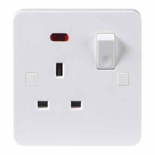 KnightsBridge Pure 9mm 1 Gang White 13a Switched Single Pole UK Plug Socket with Neon KnightsBridge PURE 9mm 1G UK Mains Power Socket With Concave Switch & Neon  - Click to view a larger image
