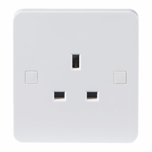 KnightsBridge Pure 9mm 13A White 1G Single 230V UK 3 Pin Unswitched Electric Wall Socket KnightsBridge PURE 9mm 1G 3-Pin UK Mains Power Unswitched Socket  - Click to view a larger image