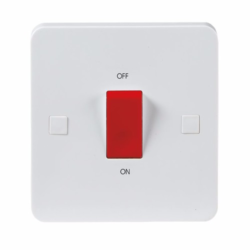 KnightsBridge Pure 9mm 45A White 1G Double Pole 230V Electric Cooker Wall Plate Switch KnightsBridge PURE 9mm 45A Double Pole Cooker Switch With Concave Detail  - Click to view a larger image
