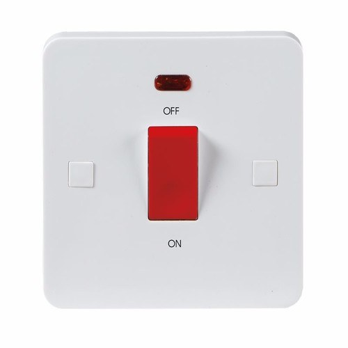KnightsBridge Pure 9mm 45A White 1G Double Pole 230V Electric Cooker Wall Plate Switch With Neon KnightsBridge PURE 9mm 45A Double Pole Cooker Switch With Concave Detail & Neon  - Click to view a larger image