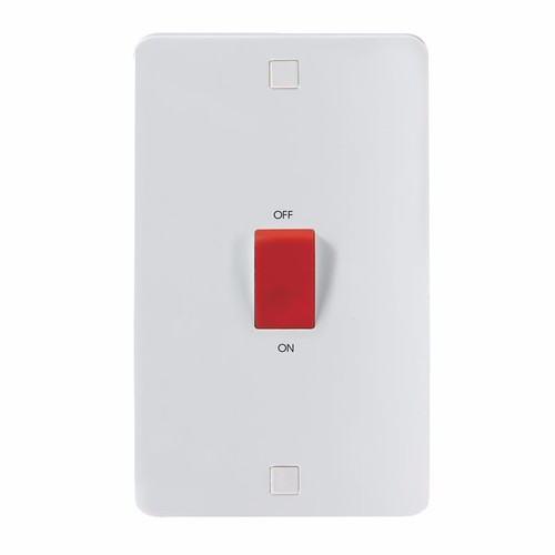 KnightsBridge Pure 9mm 45A White 2G Double Pole 230V Electric Cooker Wall Plate Switch KnightsBridge PURE 9mm 45A Cooker Switch With Concave Detail Double Size  - Click to view a larger image