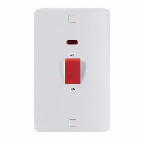 KnightsBridge Pure 9mm 45A White 2G DP 230V Electric Cooker Wall Plate Switch With Neon KnightsBridge PURE 9mm 45A Cooker Switch With Concave Detail & Neon Double  - Click to view a larger image