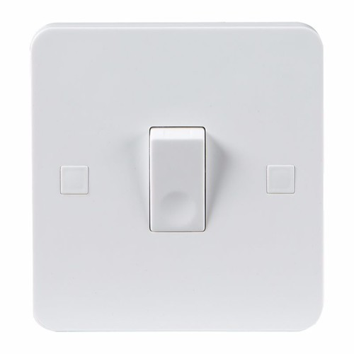 KnightsBridge Pure 9mm 20A White 1G Double Pole 230V Electric Wall Plate Switch KnightsBridge PURE 9mm 20A Double Pole Switch With Concave Rocker Detail - Click to view a larger image