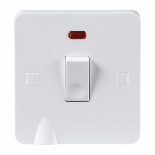 KnightsBridge Pure 9mm 20A White 1G Double Pole 230V Electric Switch with Neon & Flex Outlet KnightsBridge PURE 9mm 20A Double Pole Switch With Concave Detail Neon & Flex Outlet - Click to view a larger image