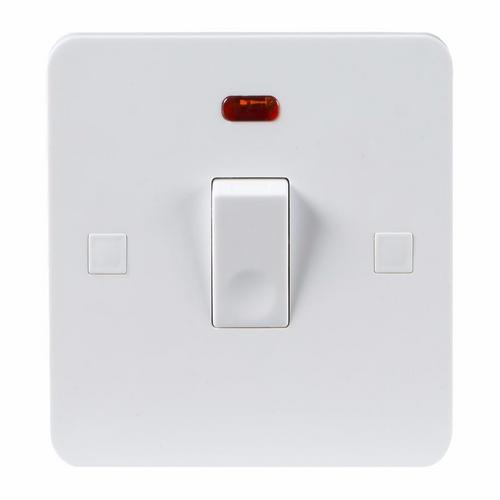 KnightsBridge Pure 9mm  20A White 1G Double Pole 230V Electric Switch with Neon KnightsBridge PURE 9mm 20A Double Pole Switch With Concave Detail Neon  - Click to view a larger image
