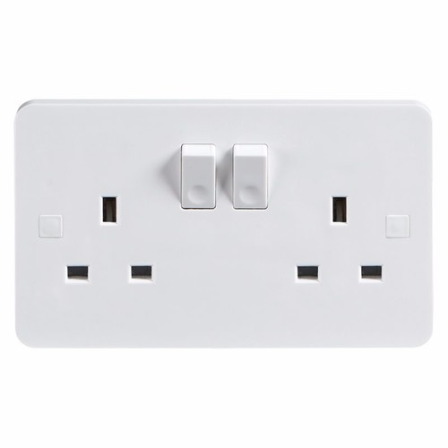 KnightsBridge Pure 9mm 13A White 2G Twin 230V UK 3 Switched Electric Wall Socket KnightsBridge PURE 9mm 2G 3-Pin UK Mains Power Socket With Concave Switch Detail  - Click to view a larger image