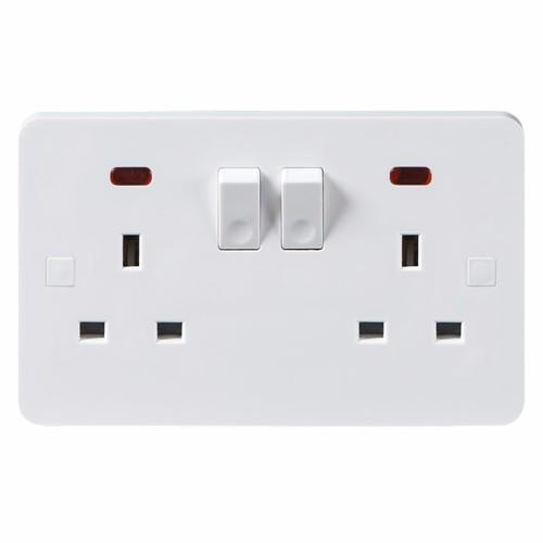 KnightsBridge Pure 9mm 13A White 2G Twin 230V UK 3 Switched Electric Wall Socket with Neon KnightsBridge PURE 9mm 2G UK Mains Power Socket With Concave Switch & Neon  - Click to view a larger image