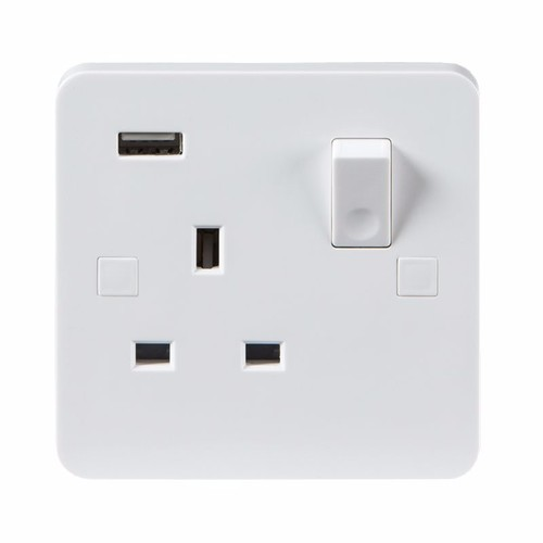 KnightsBridge Pure 9mm 13A White 1G 230V UK 3 Switched Electric Wall Socket & USB Charger Point KnightsBridge PURE 1G 9mm UK Power Socket With USB & Concave Switch Detail - Click to view a larger image
