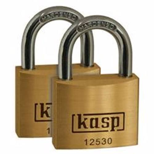 Kasp 30mm Hardened Steel & Brass Security Padlock - 2 Pack Kasp 30mm Brass Outdoor & Indoor Security Padlock  - Click to view a larger image