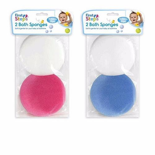 Compare prices for First Steps Baby Toddler Babycare Gentle Bath Sponges - 2 Pack - Blue and White