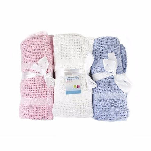 Compare prices for First Steps 100percent Pure Soft Cotton Cellular Baby Blanket - Blue