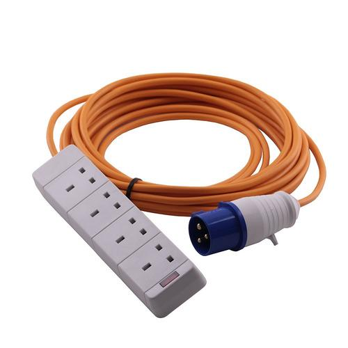 Zexum 16A 230V Orange Male to 4 Gang Hook Up Extension Cable Lead  - Click to view a larger image