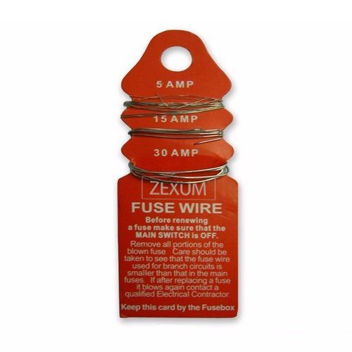 Zexum 5A / 15A / 30A Consumer Unit Fuse Wire Card Set  - Click to view a larger image