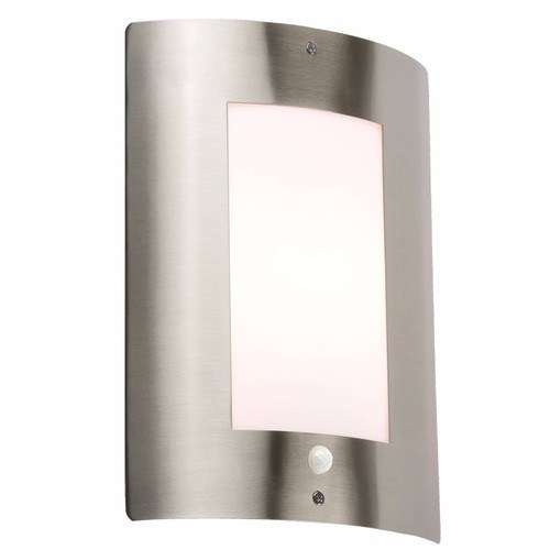 KnightsBridge 40W IP44 Edison Screw (E27) Stainless Steel Outdoor Wall Light with PIR KnightsBridge NH027S Wall Light with Sensor - Click to view a larger image