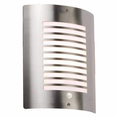 KnightsBridge 40W IP44 Edison Screw (E27) Decorative Stainless Steel Outdoor Wall Light with PIR Knightsbridge NH028S - Decorative Wall Light with PIR - Click to view a larger image