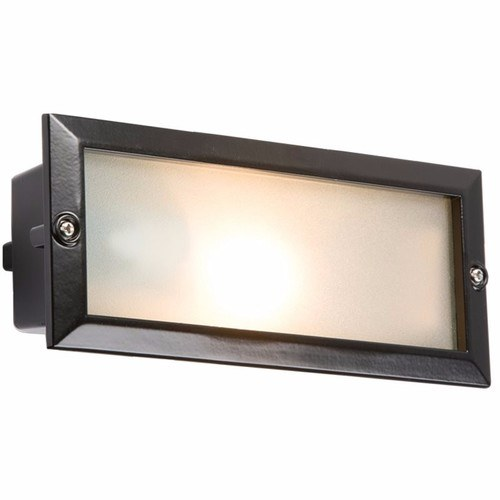 KnightsBridge IP44 E27 Aluminium Brick Light With Extra Louvred Cover 1