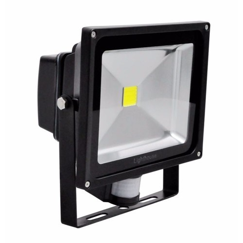 Lighthouse IP65 Ultra Efficient LED Black Aluminium PIR Floodlight  - Click to view a larger image