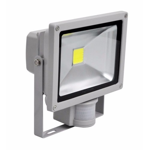 Lighthouse IP65 Ultra Efficient LED Grey Aluminium PIR Floodlight Lighthouse IP65 Ultra Efficient Grade 1 35 MIL LED Chip Floodlights With PIR Sensor Grey - 20W