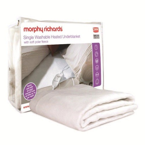 Morphy Richards 75187 Single Polar Fleece Top Washable Heated Underblanket Morphy Richards 75187 Single Polar Fleece Top Washable Heated Underblanket  - Click to view a larger image