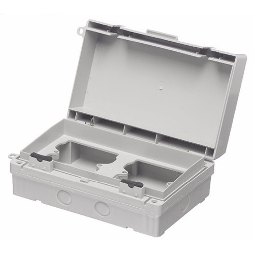 Europa IP65 Twin 2x1G Weatherproof Outdoor Switch & Socket Accessory Box Europa Components IP65 Twin 2x1 Gang Weatherproof Outdoor Socket Accessory Box  - Click to view a larger image