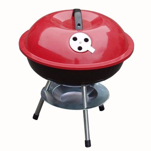 Zexum Mini Portable Barbecue With Enameled Red Finish Zexum Portable 14 Inch Steel Barbecue With Enameled Red Finish  - Click to view a larger image