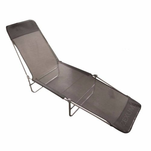 Zexum Portable Lounger Chair Black Textoline Zexum Portable Black Textoline Sun Lounger Garden Chair  - Click to view a larger image