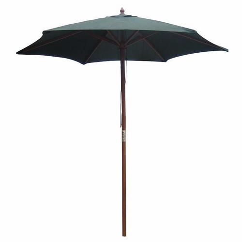 Zexum Wooden Garden Table Parasol With Green Canvas Zexum 2.1m Diameter Wooden Green Outdoor Garden Table Parasol  - Click to view a larger image