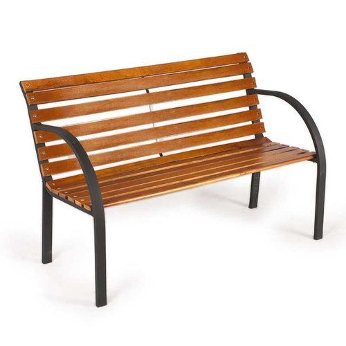 Zexum Teak Hardwood & Steel Garden Park Bench Zexum Powdered Steel & Teak Hardwood Modern Outdoor Garden Bench  - Click to view a larger image